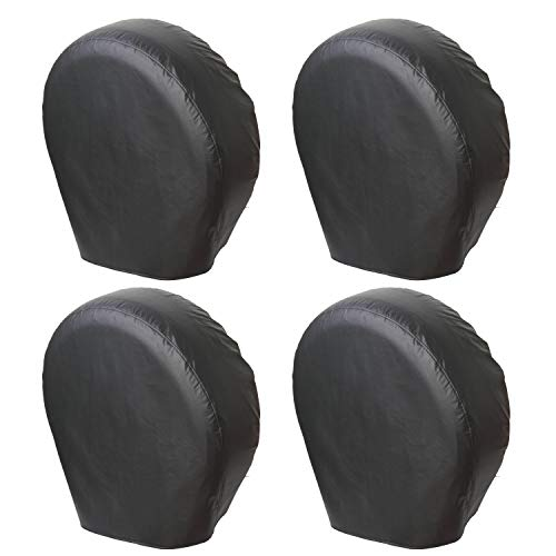 Moonet Tough Tire Covers for RV Wheel(4 Pack), Heavy Duty Thicken Sun Protectors for Truck Motorhome Boat Trailer Camper Van SUV, for Diameter 24'-26' Black