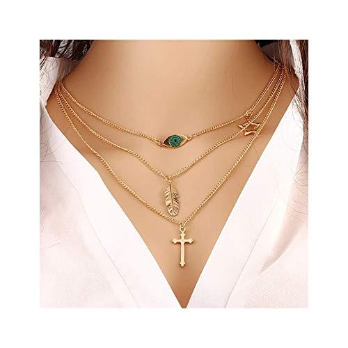 Collar de Borla Boho Collar en Capas Oro Cross Cross Collares Collares Cadena Star Charm Collar Joyería para Mujeres y Niñas