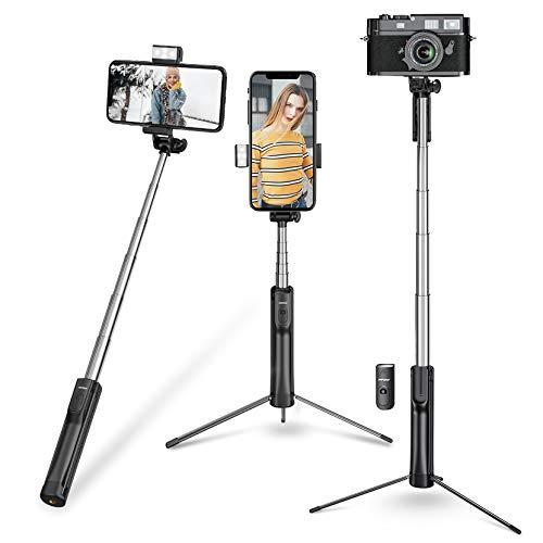 Mpow Selfie Stick Stativ Kamera Stativ 4 in 1 Selfie-Stange Bluetooth, Monopod mit LED Fülllicht für iPhone 12 pro max/iPhone SE/iPhone 11/X/8/7, Galaxy S20/S9 bis zur 6,8 Zoll, Gopro/Kleine Kamera.