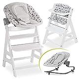 Hauck Alpha Plus Newborn Set Premium - Trona Madera evolutiva bebés con Hamaca recién nacidos y cojín de asiento en algodón - Altura regulable - blanco Nordic Grey
