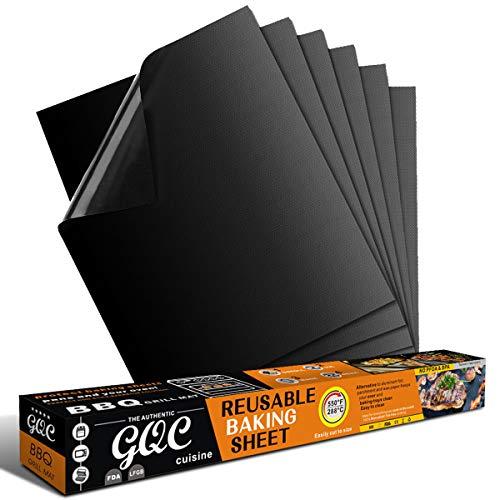 GQC Tappetini da Barbecue Set di 6 Mat Cottura BBQ in Teflon Approvati da FDA Antiaderenti Riutilizzabili Resistenti a Temperatura Alta Adatti per Griglia a Gas Carbone Forno e Griglia Elettrica.