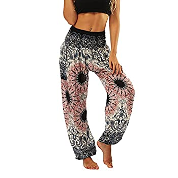 Lu s Chic Women s Boho Pants Harem Smocked Waist Yoga Hippie Palazzo Summer Beach Pants Pattern10 One Size