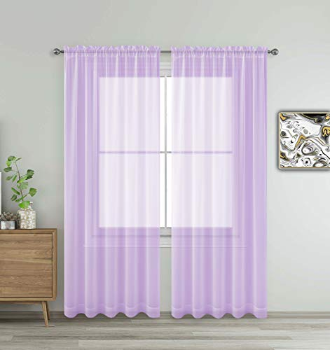 """Lavender Purple Window Sheer Treatment Panels Beautiful Rod Pocket Voile Elegance Curtains Drapes for Living Room, Bedroom, Kitchen Fully Stitched, Set of 2 (Lavender, 84"""" Inch Long)"""
