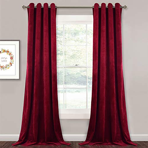 StangH 108-inch Long Velvet Curtains - Luxurious Velvet Fabric Room Darkening Draperies Christmas Decor Large Backdrops for Home Theater / Sliding Glass Door, Red, W52 x L108 inches, 2 Panels