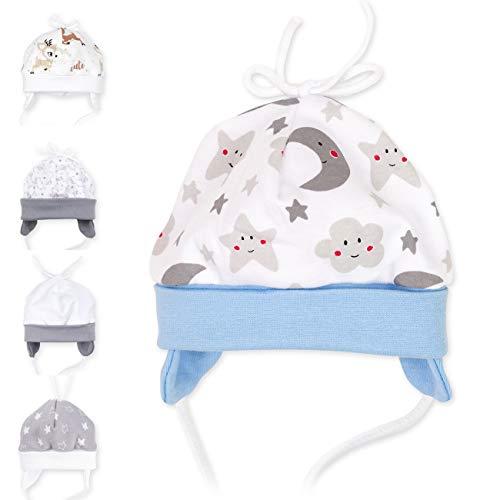 Baby Sweets Baby Mütze für Jungen in Hellblau Grau Weiß als Erstlingsmütze im Mond-Sterne-Motiv/Babymütze für Neugeborene & Kleinkinder zum Binden in der Größe: 3 Monate (62)