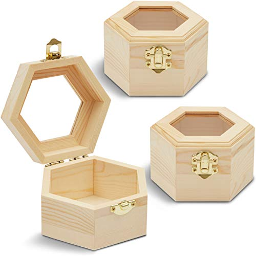 Unfinished Hexagon Wood Jewelry Box with Window and French Buckle (3-Pack)