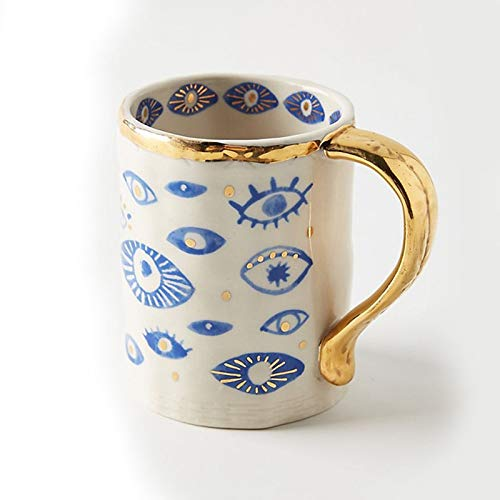 Tea Cups Handmade Creative Gifts Ceramic Hand Eye Mugs and Plates Gold Rim Decorative Kitchen Home Tableware Personalized Coffee 2