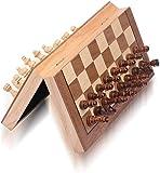 HJUIK Juego de ajedrez magnético de 34 cm, tablero de ajedrez plegable, portátil, juego de ajedrez de madera, incluye reinas adicionales