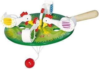 Goki 4 gallinas picoteando - Juegos y Juguetes de Habilidad/Activos, Madera, 3 año(s), CE, 12,5 cm, 130 g