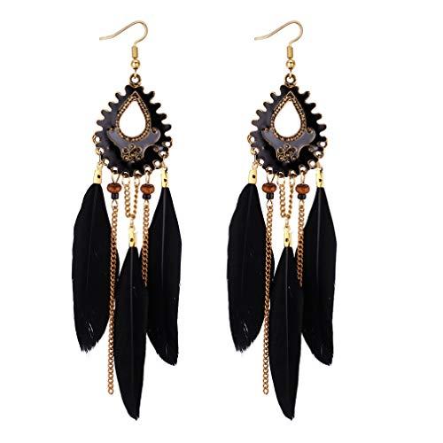 YAZILIND preciosos pendientes de plumas larga borla colgante pendiente de las mujeres niñas cumpleaños regalo joyería negro