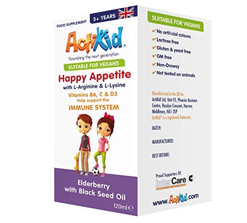 ActiKid Happy Appetite 120ml for Children - Elderberry with Black Seed Oil - with L-Arginine & L-Lysine | Vegan | Gluten Free | Appetite Booster | Immune Support