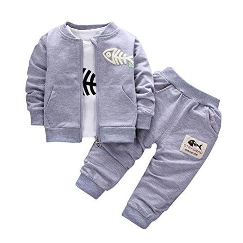Amlaiworld Ropa niño Otoño Invierno, Ropa de bebé niños Conjunto Abrigo + Camisa + Pantalones 6 Mes - 3 Años (Tamaño:6-12Mes, Gris)