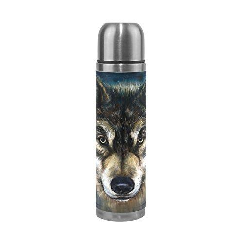 COOSUN Wolf Art Bouteille d'eau isotherme en acier inoxydable avec motif peinture de loup - Double bouteille sous vide - En cuir synthétique - 500 ml