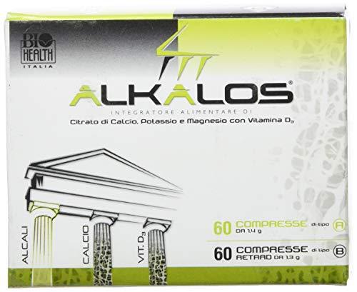 Alkalos di Biohealth Italia - Integratore Alimentare a Base di Citrato di Calcio, Potassio e Magnesio con Vitamine D - Barattolo A 60 compresse + Barattolo B 60...