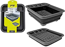 TheSummit Pop! Collapsible Dish Rack Drainer with Draining Systemis a stylish black and greydish This drainer doubles as a washing up bowl and dish rack, by simply unplugging the stopper and rotat The flexible design allows this dish drainer to fo...
