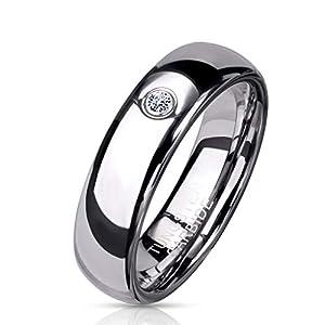 Paula & Fritz® Ring Damen Wolframcarbid Zirkonia Klar Gr. 62 (19,7) Silber 6-mm Breit Partnerring Damenring Ehering Kuppelring Herren-Ring Tungsten