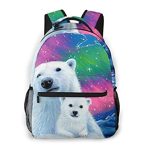 Nongmei Zaino per laptop da viaggio,Orso polare nel cielo,Zaino antifurto resistente all'acqua Business Slim durevole