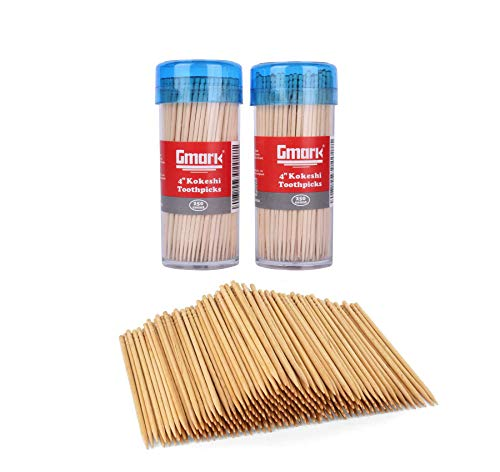 Gmark Premium 4' Kokeshi Toothpicks Skewers 500ct (2 Packs of 250) Extra long toothpicks for appetizers GM1034