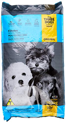 Ração Three Dogs Biofresh Para Cães Filhotes de Pequeno e Mini Porte Sabor Frango, Carne e Arroz, 10,1kg