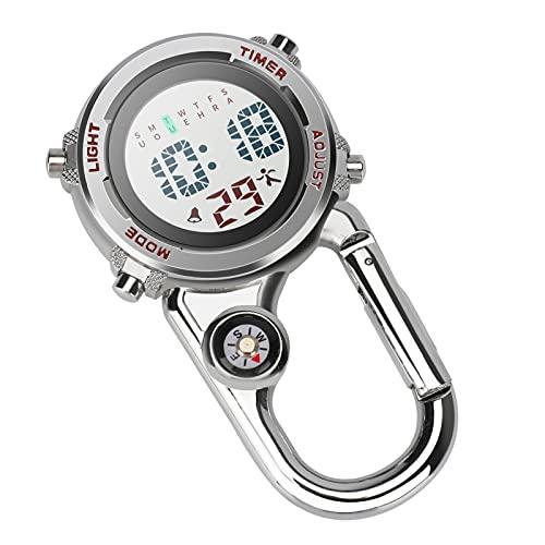 Aceshop Karabiner-Uhr Digital Clip On Quarz Uhr Multifunktionale Karabiner FOB Uhr Leuchtend Gesicht Kompass Karabiner Uhr mit Kompass für Ärzte Krankenschwestern Sanitäter Chefs Sport Unisex (rot)