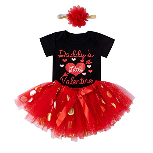 Valentine's Day Baby Girl Outfit Short Sleeves Romper Tulle Layers Skirt Headband Baby Girl Valentine's Day Clothes (Black, 0-6 Months)