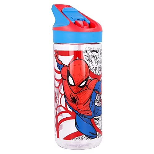 Stor Trinkflasche TRITAN Premium MEDIUM 620 ML Spiderman URBAN Web, Einfarbig, Estándar