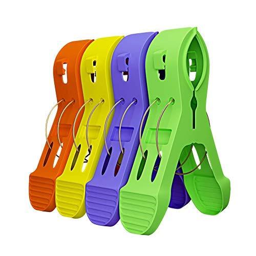 Paquete de 12 clips de toalla de playa, clips de toalla de playa, clips de toalla de playa, clips para silla de salón, evitar que las toallas se vuelquen, color brillante de moda