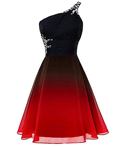 Kivary Plus Size Beaded One Shoulder Short Ombre Prom Homecoming Dresses Black Red 18W