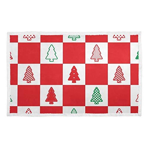 UMIRIKO Manta para mascotas, diseño de árboles de Navidad, color rojo, a cuadros, suave, para perro, gato, cachorro, colchoneta para sofá cama, lavable 2020214