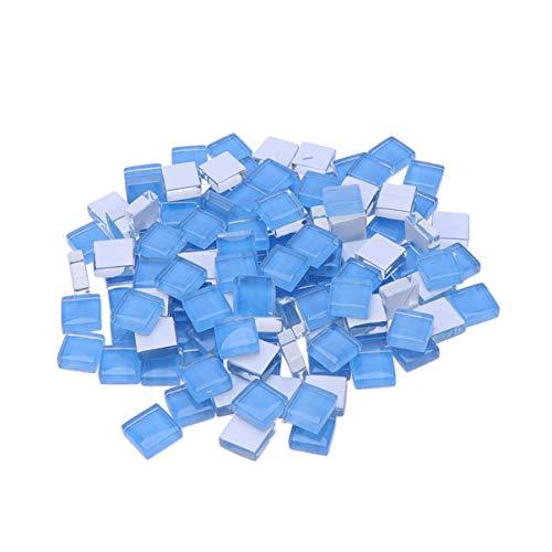 Healifty 100 piezas de mosaico de mosaico de cristal de vidrio para arte artesanal (azul claro)