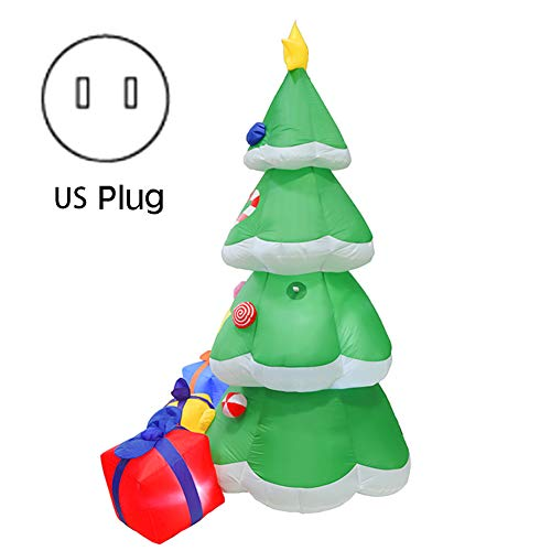Kunyin Christmas Tree Inflatable with 3 Multicolor Gift Wrapped Boxes Blow up for Outdoor Lawn Yard Decoration Party Display(US Plug)
