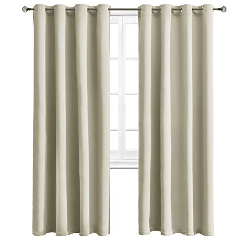 WONTEX Blackout Curtains Room Darkening Thermal Insulated Curtain with Grommet for Bedroom/Living Room, 52 x 95 inch, Light Beige, 2 Panels