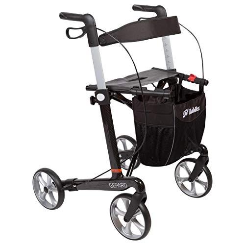 FabaCare XXL Rollator Gepard mit Softrädern, Premium Leichtgewichtrollator aus Carbon, faltbar, mit Vollausstattung, Tasche, Stockhalter, Sitz, Carbonrollator bis 200 kg, Sitzhöhe 62 cm