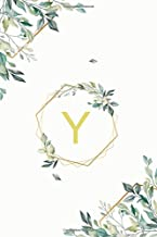 "Υ: υ Upsilon, Initial Monogram Greek Alphabet Letter Υ Upsilon, Cute Cover Leaves Decoration, Unlined Notebook/Journal, 100 Pages, 6""x9"", Soft Cover, Matte Finish"
