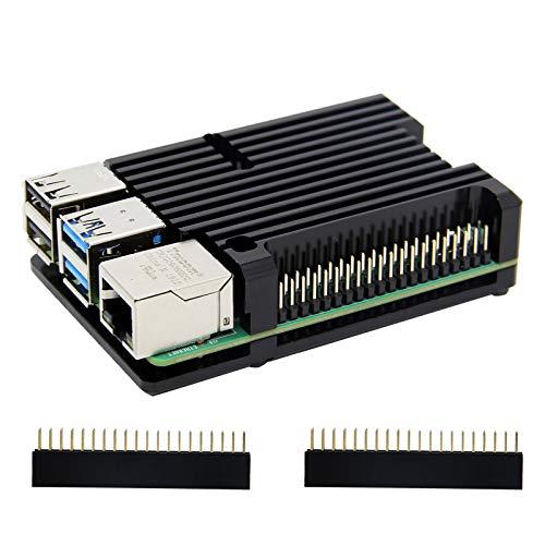 Carcasa de disipador térmico Raspberry Pi 4 con ventilador Dual, carcasa de aleación de aluminio Raspberry Pi 4B/carcasa de refrigeración pasiva para Pi 4 Modelo B solamente (Sin ventilador-Negro)