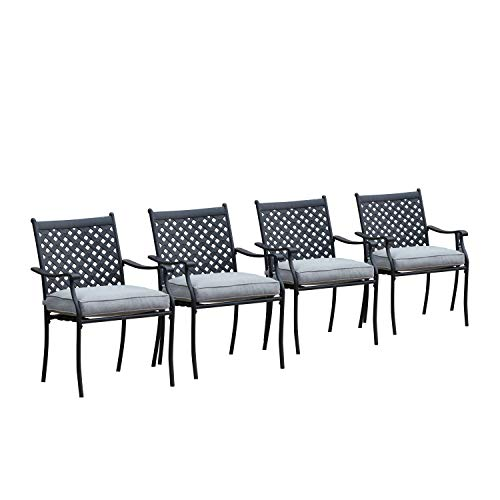 LOKATSE HOME 4 Piece Outdoor Patio Metal Wrought Iron Dining Chair Set with Arms and Seat Cushions -...