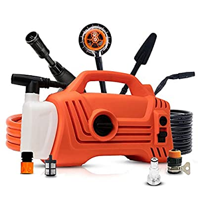 Portable Electric High Pressure Cleaner 70bar Working Pressure /100bar Max Pressure, 5.5L/min Electric Pressure Washer Waterproofing System 3-in-1 Nozzle Power Pressure Washer,Orange-Daccessories from QXMEI