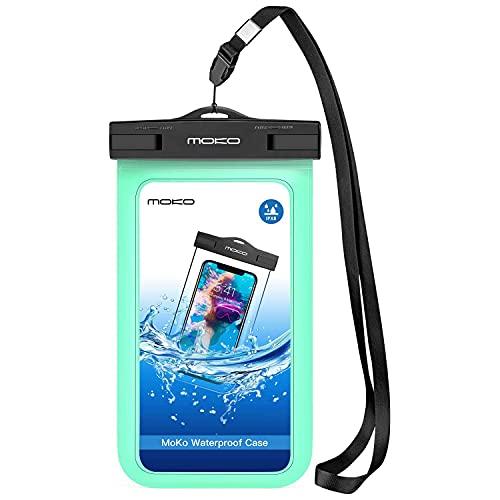 MoKo wasserdichte Handyhülle, Schneegeschützte Handytasche Schlüsselband Kompatibel mit iPhone 12/12 mini/12 Pro/11/11 Pro/11 Pro Max/X/Xs/Xr/Xs Max, Galaxy S10/S10 e, bis zu 6.5 Zoll, Minzgrün