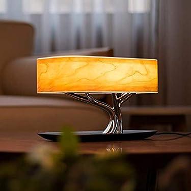 Lámpara de mesa de noche con altavoz Bluetooth cargador inalámbrico LED luz de madera de cerezo modo de sueño Smart Touch Slide & Stepless atenuación WiFi original 3 en 1 mejorada Smart Lamp by iV Industry