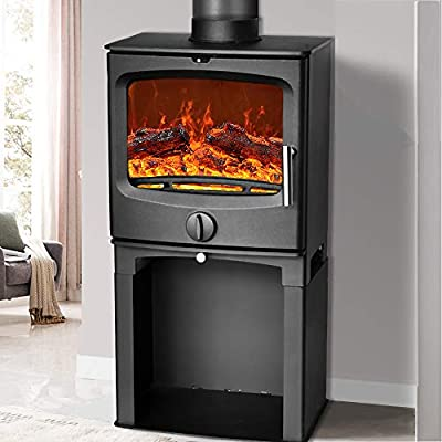 NRG 5KW Contemporary High Efficiency Wood Burning Multi-Fuel Stove Eco Design Fireplace with Log Store Defra Approved