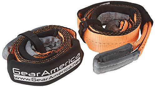 GearAmerica 2PK Tree Saver Winch Strap 3' x8' | Heavy Duty 35000 lbs (15.8 T) Strength | Off-Road Towing and Recovery Rope for 4x4 or Truck | Reinforced Loops + Adjustable Sleeves + Storage Bag + Tie
