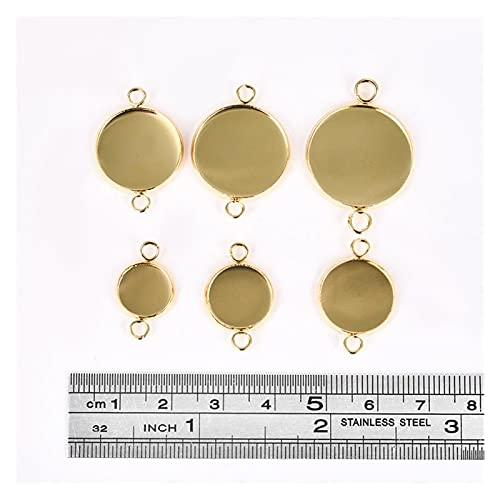 LAANYMEI Base de cabujón 20pc Oro de Acero Inoxidable Pulsera Conector Cabochon Ajuste Redondo Bandeja en Blanco Bisel Colgante Base Joyería 10/12 / 14/16/18 / 20mm (Color : Gold, Size : 14mm)
