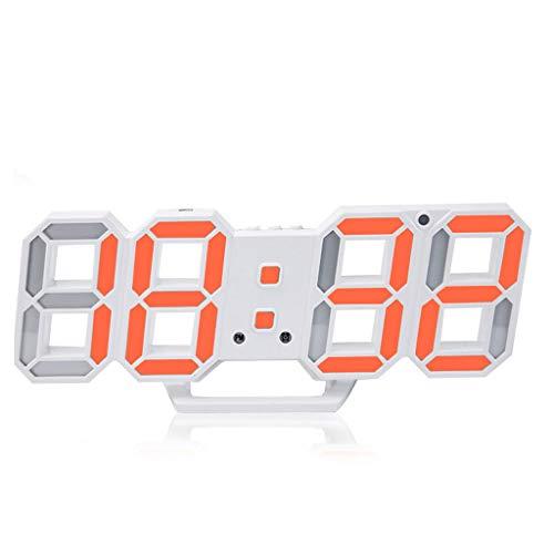 Relojes de chimenea Reloj despertador Pantalla digital LED Tiempo de ahorro de energía con cargador USB Lateral Sencilla Sala de estar Dormitorio Reloj despertador Naranja Reloj de escritorio