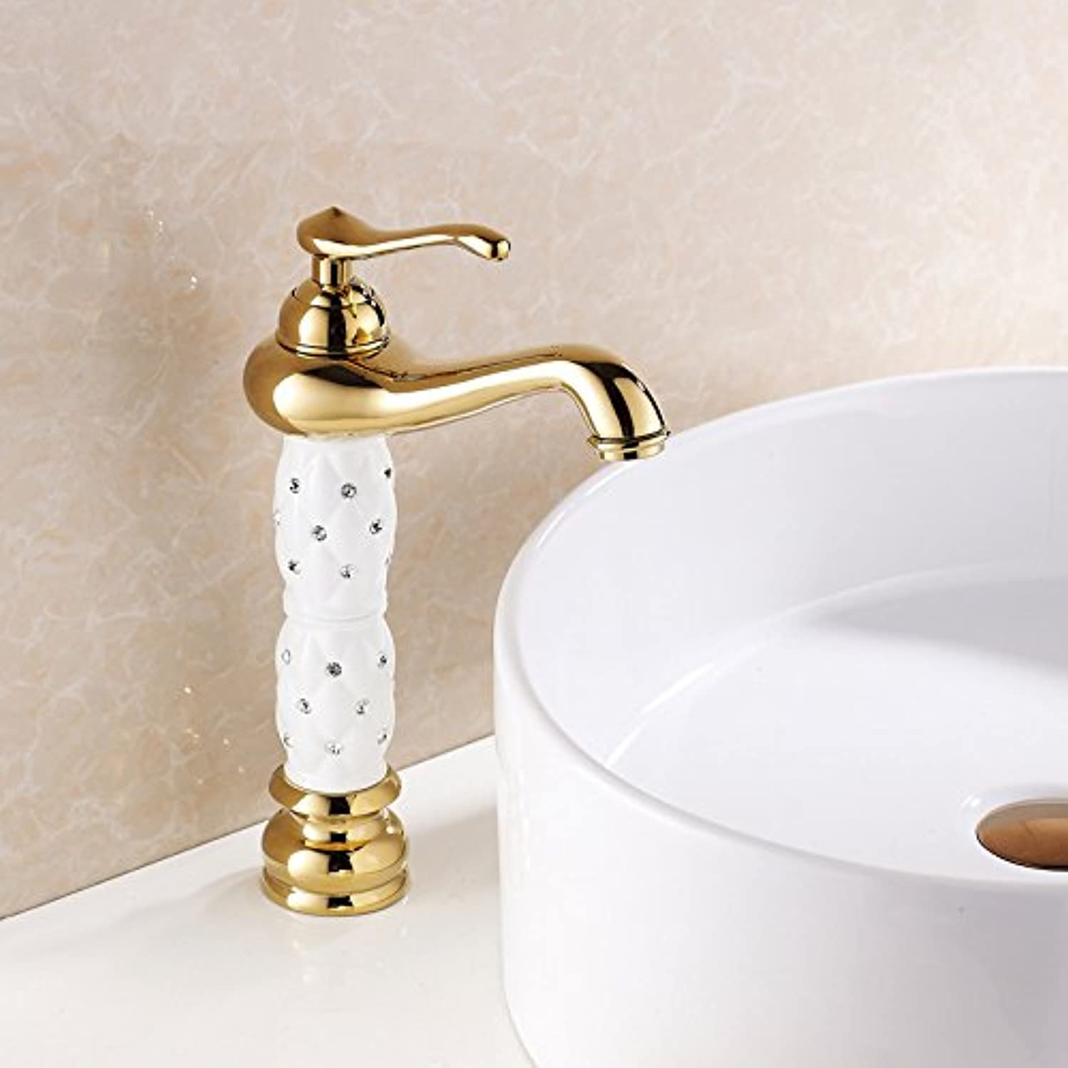 LHbox Basin Mixer Tap Bathroom Sink Faucet Basin mixer gold faucet white insert drill bench basin mixer basin of hot and cold, White