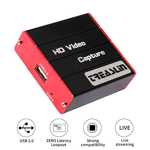 TreasLin USB Capture Karte,HD 1080P Video Capture Card Live Streaming Share für PS4 Nintendo Switch Wii U DSLR Xbox auf OBS,XSplit,Twitch,YouTube unterstützt Windows,Mac,Zero Latency HDMI Loopout 320