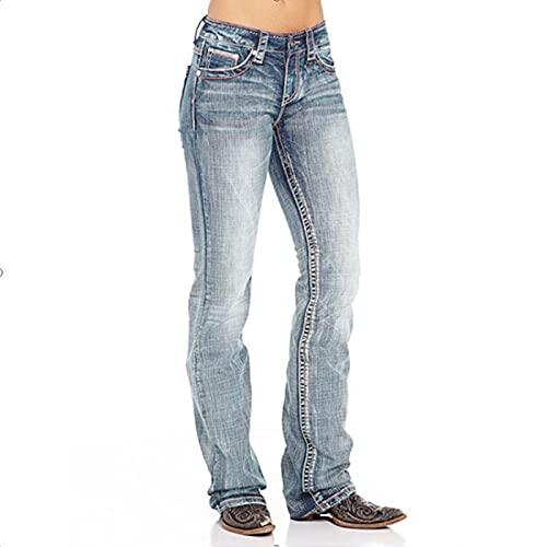 Fainash Jeans Rectos Retro para Mujer Tendencia Suelta Lavada Ocio Diario Simplicidad de Todo fósforo Pantalones de Mezclilla de Talla Grande Europa y América L