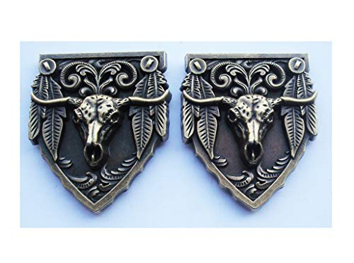 Conchos de escudo de cabeza de toro occidental únicos con respaldo de tornillo para sillines Bolsa Cinturón Brida Elaboración de adornos de cuero, botones de adorno 4.5 x 5.5 cm, paquete de 2 (Bronce)