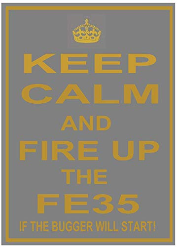 PotteLove Vintage Aluminum (Massey) Ferguson Fe35 Fe 35 Tractor Keep Calm Fun Metal Sign Plaque Grey Gold for Garage Man Cave Home Decor 8