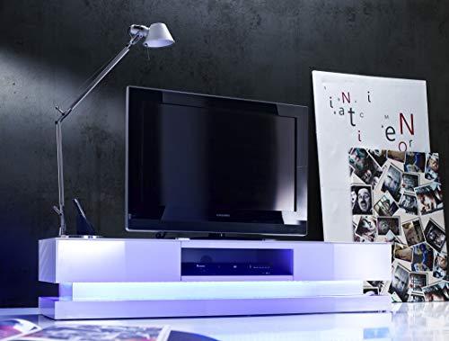 Robas Lund Lowboard Weiß Hochglanz lackiert, TV Möbel mit LED Wechselbeleuchtung inklusive Fernbedienung
