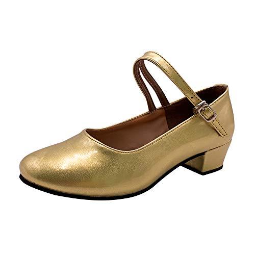 Yudesun Deportes Danza Zapatos Niña - Mujer Cuero Latinos Salón Salsa Baile Zapatos Alto Tacón Calzado Mary Jane Tango Bailarina Performance (Los Zapatos Son Muy pequeños)